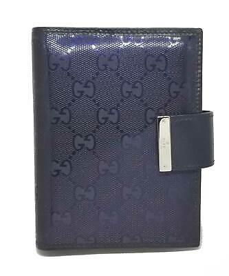 Authentic GUCCI Notebook Cover Navy GG Imprime 115240