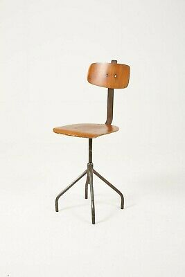 Midcentury Industrial Work Stool Ply Metal Vintage Retro