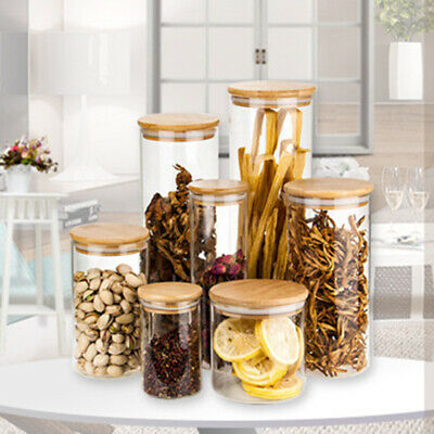 Glass Jars Food Storage With Bamboo Lid Container Kitchen Tube Canister Set