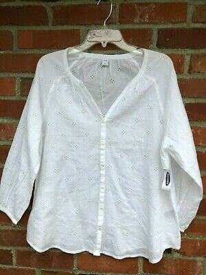 Old Navy WHITE Eyelet Peasant Blouse L NWT   new shirt top