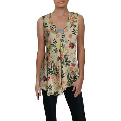 Theory Womens Fluid Ivory Silk Floral Layer Shell Top S BHFO 1790