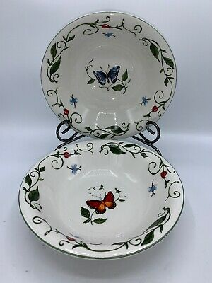 Tabletops Unlimited BUTTERFLY Set of 2 Bowls Blue Red Soup Cereal Coupe Bowl