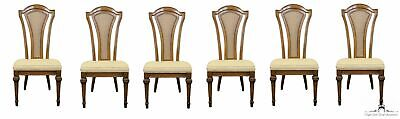 UNIQUE FURNITURE MAKERS Set of Six Italian Style Cane Back Dining Side Chairs