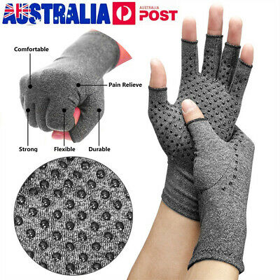 1/2 X Arthritis Gloves Compression Joint Finger Pain Relief Hand Wrist Support