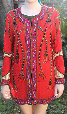 Vintage Red Purple Essence By Mail Sequin Beaded Silk Size Small Jacket
