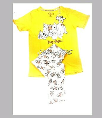 NEW Disney Winnie The Pooh Ladies Cotton Glitter Top&Pant Pyjama set PJs Primark