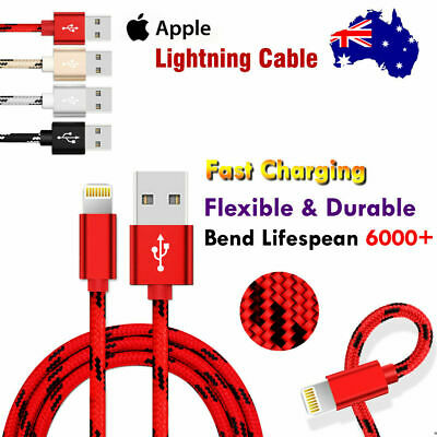 1M 2M USB Lightning Fast Charging Charger Nylon Cable For Apple iPhone iPad iPod