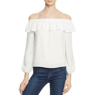 Cooper & Ella Womens Leticia White Off-the-Shoulder Ruffled Blouse S BHFO 3011