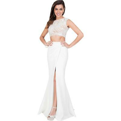 Terani Couture Prom Two Piece Pattern Crop Top Dress Gown BHFO 6015