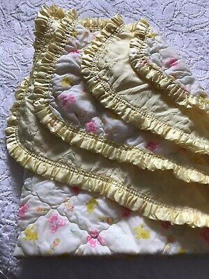 Vintage Baby Handmade Quilted Crib Blanket Ruffle Trim Pink Bears Yellow Bunnies
