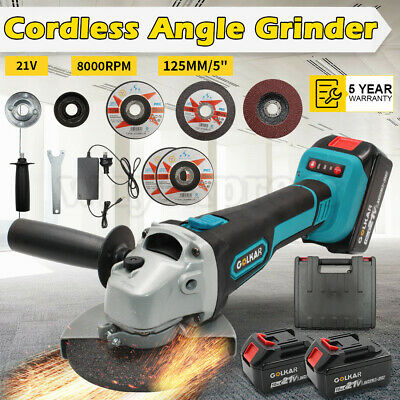 125mm 21V Replace Makita Cordless Angle Grinder w/ Battery Charger Cutting Discs