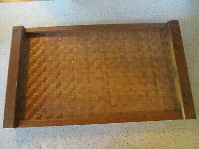 "Vintage Arts & Crafts Style Oak & Cane Serving Tray, 20"" L X 11 1/2"" W Very Nice"