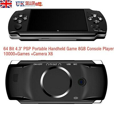 """64 Bit 4.3"""" PSP Portable Handheld Game 8GB Console Player 10000+Games +Camera X6"""