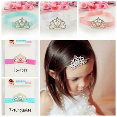 Girls Princess Diamonds Infant Toddler Head Wrap Hairband Headband Pearl Crown