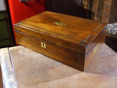 ANTIQUE VICTORIAN BRASS INLAID CAMPAIGN WRITING SLOPE super colour & patina ,key