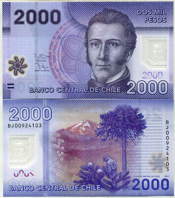 CHILE 2000 2,000 PESOS 2013 P 162 NEW DATE POLYMER UNC