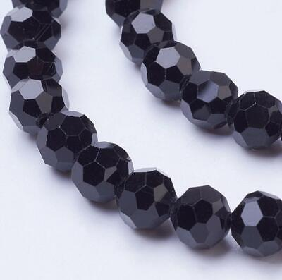 FACETED ROUND CRYSTAL GLASS BEADS 8mm 6mm 4mm BLACK