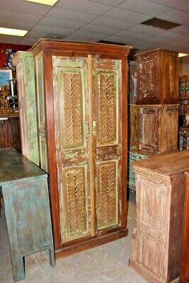 Antique green INDIAN Armoire Rustic CARVED TALLCabinet Distressed Storage CHEST