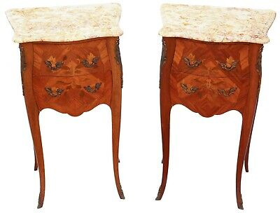 Antique quality pair of French inlaid marquetry bedside tables cupboards marble