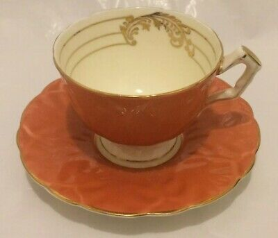 Aynsley Bone China Antique Orange Teacup And Saucer