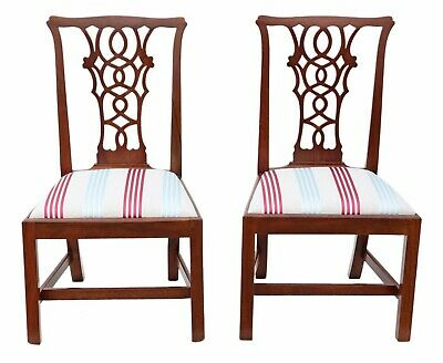 Antique fine quality pair of Georgian mahogany Chippendale style dining chairs