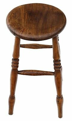 Antique quality Victorian 19th Century elm stool