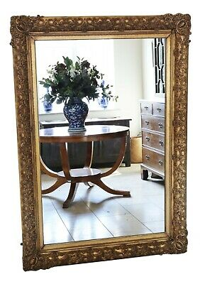 Antique large quality mid-19th Century gilt overmantle or wall mirror