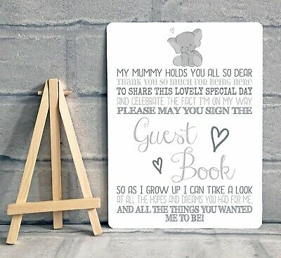 A5 Boy Girl Baby Shower Guest Book Metal Table Sign Decoration - ELEPHANT