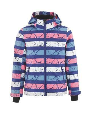 Bnwt Girls Crane Pink Striped Ski Snowboard Jacket Age 7/8 Years Coat Padded