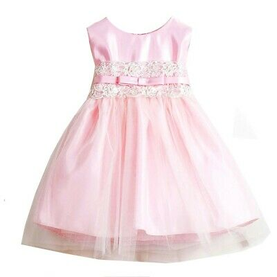 Sweet Kids Baby Girls Pink Satin Lace Bow Tulle Flower Girl dress 6-24M