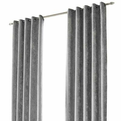 """Sienna Crushed Velvet Eyelet Pair Of Fully Lined Curtains - Silver Grey 66"""" X 54"""