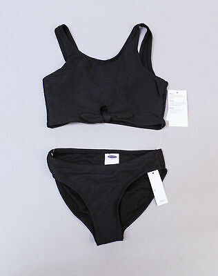 Old Navy Girls Textured Two Piece Knot Front Swimsuit TM8 Black Small NWT