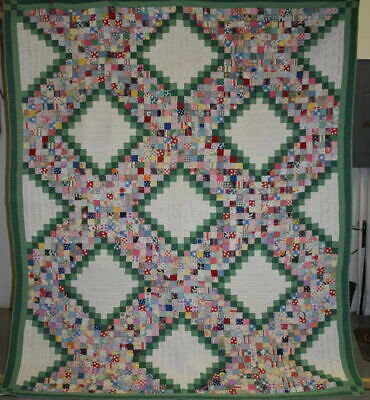 """""""Jewel Box"""" Postage Stamp Antique Quilt, Twin Size, #18687"""