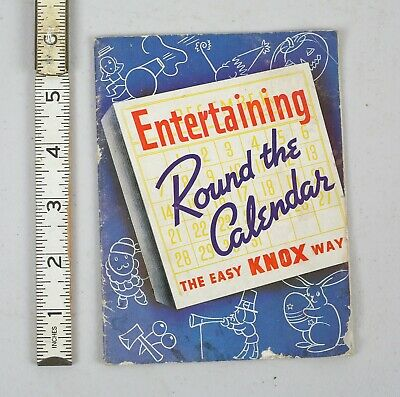 Vintage 1938  Entertaining Round the Calendar Recipe Knox Gelatine Booklet