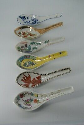 6 Porcelain Asian / Chinese Soup Rice Spoons Mixed Lot Famille Fish Dragon