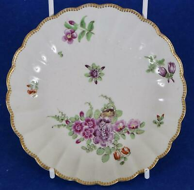 First Period Worcester Porcelain Ribbed Saucer Plate Flowers 1770 Dr Wall