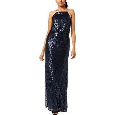 Adrianna Papell Womens Sequined Halter Formal Evening Dress Gown BHFO 4995