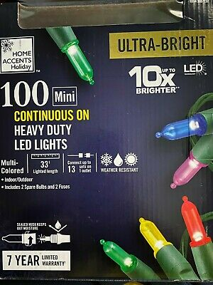 Home Accents 2 Pack 100 Mini Multi Color Indoor//Outdoor 20ft 7in String Lights