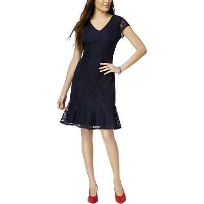 NY Collection Womens Lace V-Neck Cocktail Party Dress Petites BHFO 4087
