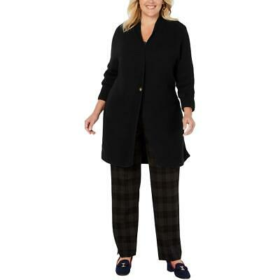 Charter Club Womens Black Ribbed One-Button Duster Sweater Top Plus 0X BHFO 1907