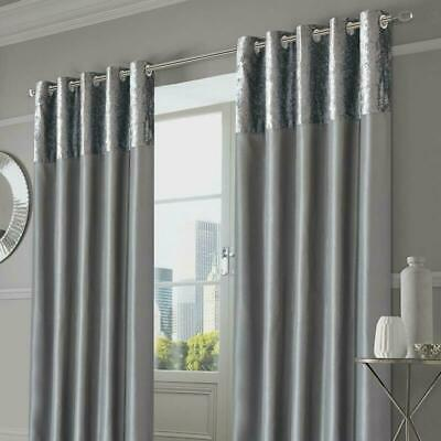 Sienna Pair Of Crushed Velvet Band Curtains Fully Lined Eyelet Ring Top Faux Sil