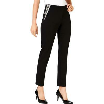 Alfani Womens Black Striped Varsity Work Wear Skinny Pants 4 BHFO 7356
