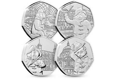 Complete 2018 And 2019 Paddington Bear UK 50p Coin Set Of 4