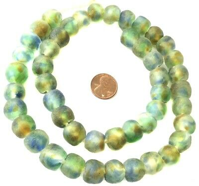 Olive Green Amber Multi Handmade Krobo recycled Glass African trade Beads-Ghana