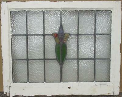 "MIDSIZE OLD ENGLISH LEADED STAINED GLASS WINDOW Abstract Floral 26.25"" x 21"""