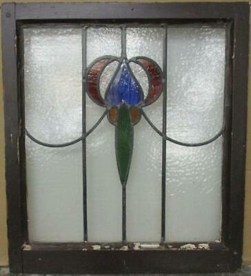"MIDSIZE OLD ENGLISH LEADED STAINED GLASS WINDOW Colorful Sweep 22.5"" x 25.25"""