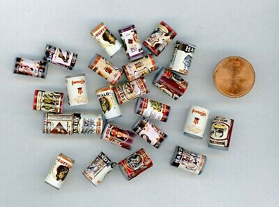 """Miniature Dollhouse 24 Vintage labeled Boxes Store or Stock Shelves 3//4/"""" H"""