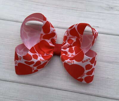 "4"" Red Valentine Baby Toddler Girl Boutique Hair Bow"