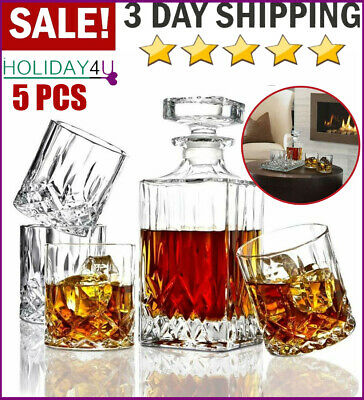 Crystal Whiskey Decanter 5PC Glasses Set Italian Crafted Liquor Scotch Lead Free