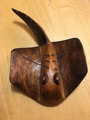 "Hand-Carved Wooden Whiptail Stingray caribbean 10"" Souvenir Jamaica"